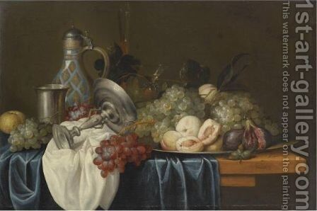 Still Life With Bunches Of Grapes, Peaches And Figs On A Pewter Dish by Alexander Coosemans - Reproduction Oil Painting