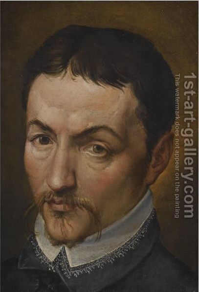 Portrait Of A Man, Head And Shoulders, Wearing A Moustache And A Black Shirt With A White Collar by (after) Bartolomeo Passerotti - Reproduction Oil Painting