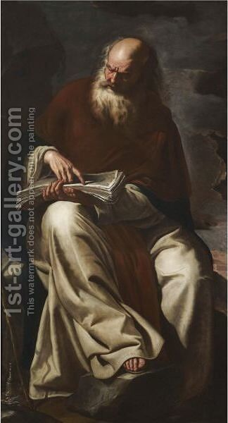 Saint Anthony Abbot by (after) Paolo Domenico Finoglio - Reproduction Oil Painting