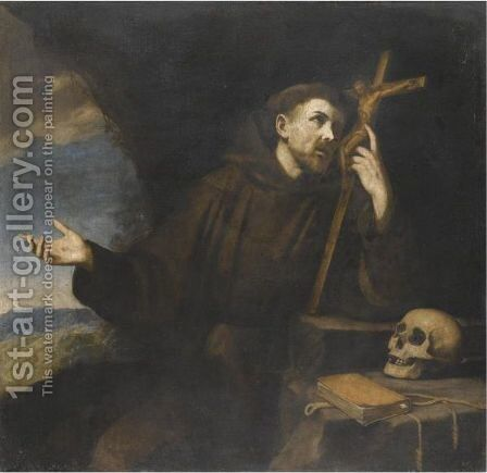 The Penitent St Francis Of Assisi by Neapolitan School - Reproduction Oil Painting