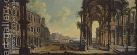 Capriccio With Architectural Ruins And A Distant View Over A Lake by Christian Stocklin - Reproduction Oil Painting