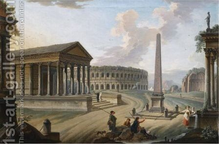 A Capriccio With Roman Monuments In Nimes, Including The Maison Carree by Charles Francois Lacroix de Marseille - Reproduction Oil Painting