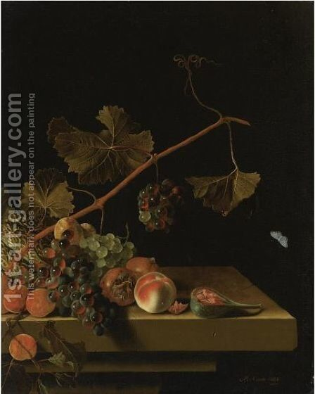 Still Life Of A Vine Twig With Grapes, Peaches, Apricots, Medlars, A Melon And A Halved Fig, Resting On A Stone Ledge by Adriaen Coorte - Reproduction Oil Painting