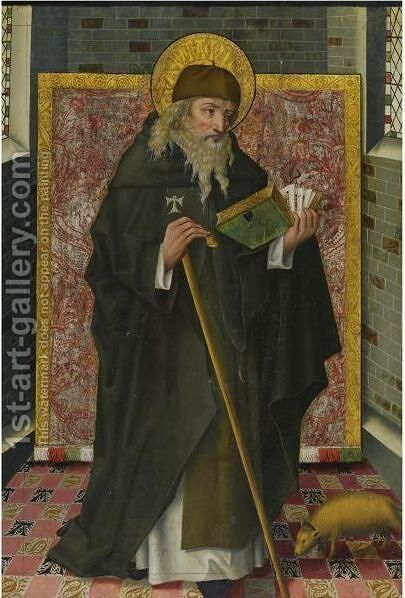 Saint Anthony Abbot by Spanish Unknown Masters - Reproduction Oil Painting