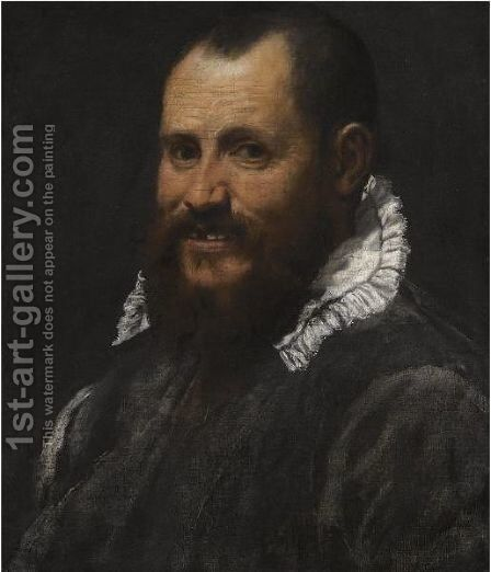 Portrait Of A Man, Bust Length, In A White Collar by Annibale Carracci - Reproduction Oil Painting