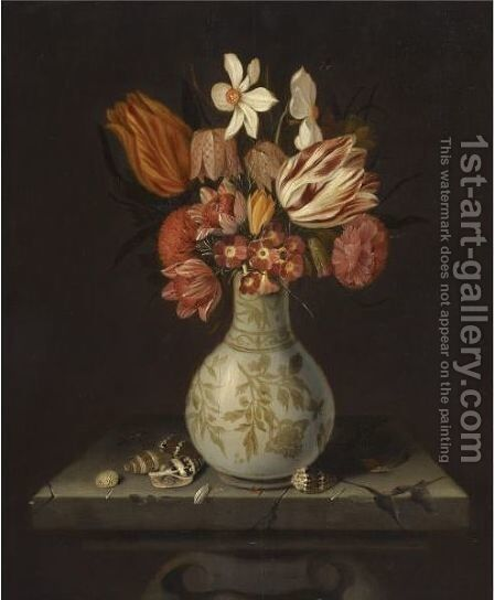Still Life With Tulips, Crocuses, Primroses And Other Flowers In A Vase On A Stone Plinth With Shells by Jan Baptist van Fornenburgh - Reproduction Oil Painting