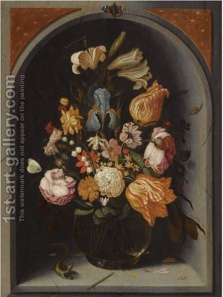 A Still Life Of Tulips, Lilies, Moss Roses, An Iris And Other Flowers In A Glass Vase In A Marble Niche, With Butterflies And A Lizard by Jan Baptist van Fornenburgh - Reproduction Oil Painting