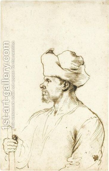A Man Seen In Profile, Half Length, Wearing A Hat And Holding A Stick by Giovanni Francesco Guercino (BARBIERI) - Reproduction Oil Painting