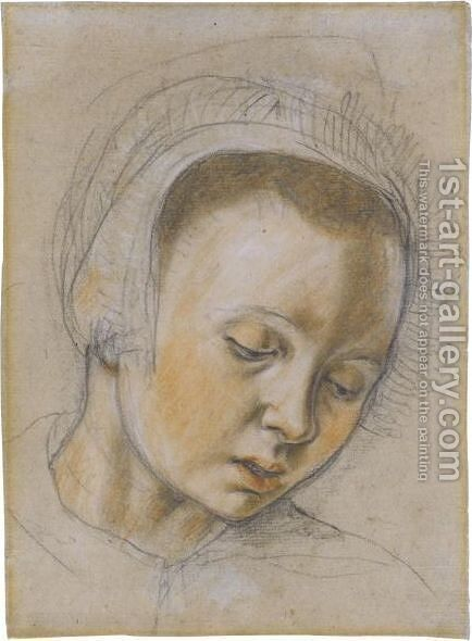 Head Of A Young Woman, Looking Down by (after) Pieter Aertsen - Reproduction Oil Painting