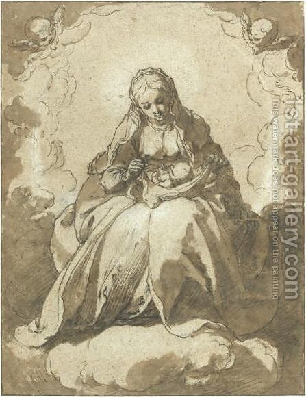 The Madonna Seated On The Crescent Moon, The Christ Child On Her Lap by Abraham Bloemaert - Reproduction Oil Painting