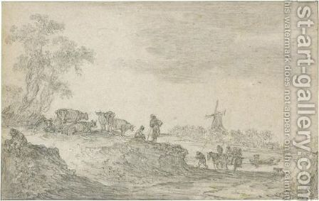 Dune Landscape With Cattle, A Windmill In The Distance by Jan van Goyen - Reproduction Oil Painting