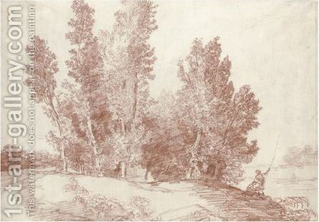 Study Of A Clump Of Trees By A River, Two Figures On The Bank To The Right by Hubert Robert - Reproduction Oil Painting