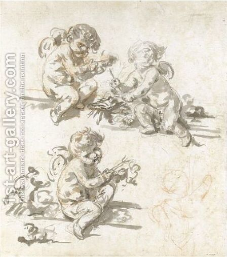 Three Studies Of Putti by Jean Baptiste Greuze - Reproduction Oil Painting