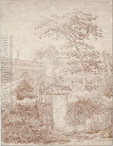 A View Of The Garden At Mondragone, Frascati by Hubert Robert - Reproduction Oil Painting