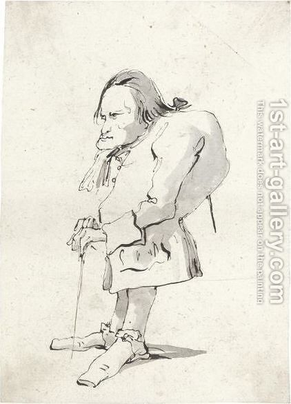 A Caricature Of A Man With Hunched Back Holding A Stick by Giovanni Battista Tiepolo - Reproduction Oil Painting
