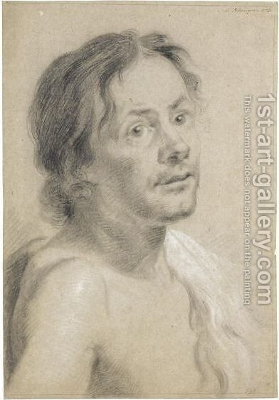 Study Of A Young Man, Head And Shoulders by Aert Schouman - Reproduction Oil Painting