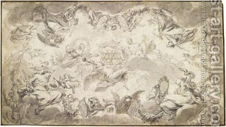 Design For A Ceiling Decoration With Allegorical Virtues Surrounding Entwined Initials Over Which Jupiter Holds A Crown by Godfried Maes - Reproduction Oil Painting