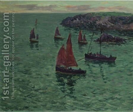 Marine Aux Barques by Henri Moret - Reproduction Oil Painting