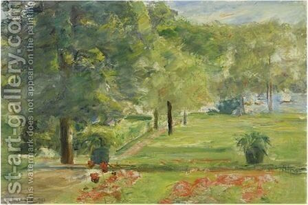 Flower Terrace, Wannsee Garden To The East by Max Liebermann - Reproduction Oil Painting