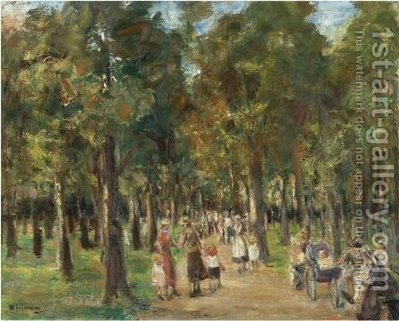 Spazierganger Im Tiergarten (Strollers In Tiergarten) by Max Liebermann - Reproduction Oil Painting