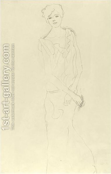 Dancer, Frontal View Or Girl Standing by Gustav Klimt - Reproduction Oil Painting
