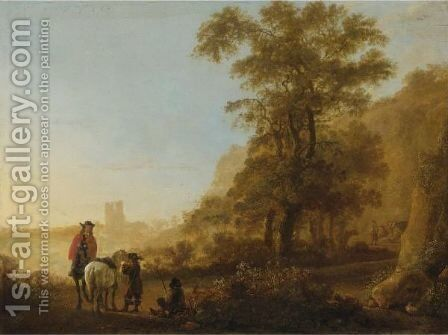 Landscape With Horsemen by (after) Aelbert Cuyp - Reproduction Oil Painting
