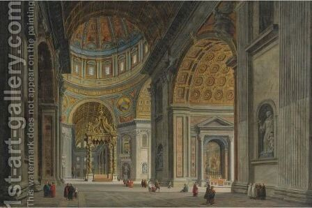View Of The Interior Of Saint Peter's Basilica, Rome by Jean Victor Louis Faure - Reproduction Oil Painting