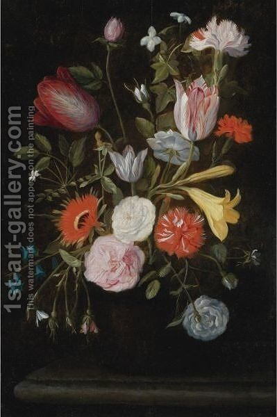Still Life Of Flowers With Tulips, Lilies, And Carnations by Isaac Cruikshank - Reproduction Oil Painting