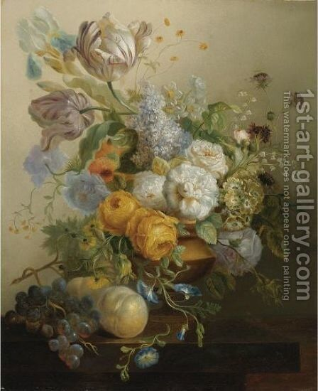Still Life Of Flowers And Fruit by Jan Frans Eliaerts - Reproduction Oil Painting