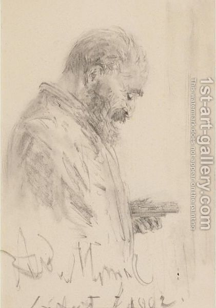 Study Of A Man Holding A Sketch Pad And A Box Of Pencils by Adolph von Menzel - Reproduction Oil Painting