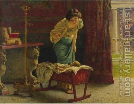 A Mother's Joy by Guglielmo Zocchi - Reproduction Oil Painting