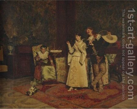 Watching The Cat by Giovanni Paolo Bedini - Reproduction Oil Painting