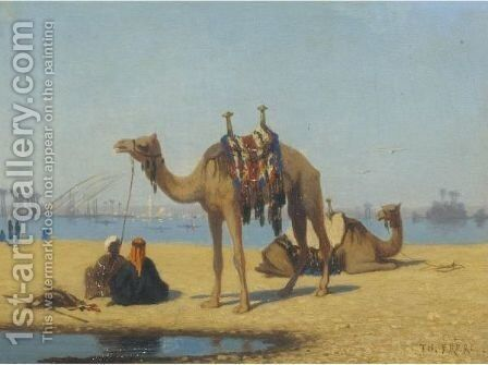 Camels By The Nile by Charles Théodore Frère - Reproduction Oil Painting