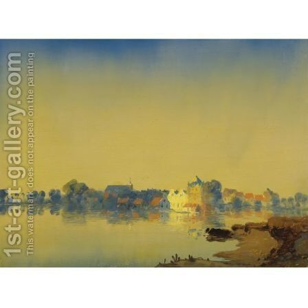 Dutch River With A Town In The Distance by Jan Voerman I - Reproduction Oil Painting