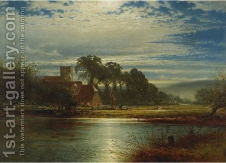 Manor On The River by Benjamin Williams Leader - Reproduction Oil Painting