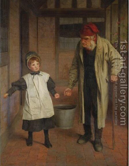 Helping Grandpa by James Hayllar - Reproduction Oil Painting