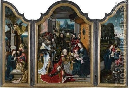 Triptych With The Adoration Of The Magi, Nativity And Flight Into Egypt by Jan van Dornicke - Reproduction Oil Painting