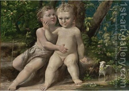 Infant Christ With The Infant Saint John The Baptist by Girolamo Mazzola Bedoli - Reproduction Oil Painting