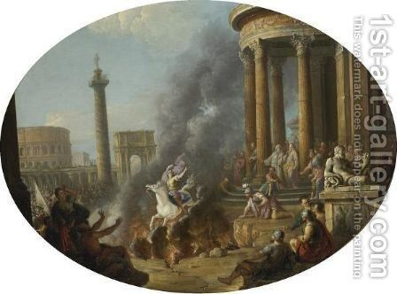 The Death Leap Of Marcus Curtius by Antonio Joli - Reproduction Oil Painting