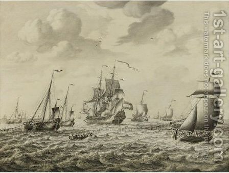 A Dutch Man-Of-War Firing A Salute, With A Flotilla Of Fishing Boats And Other Shipping Beyond A Penschilderij by Adriaen Cornelisz. Van Salm - Reproduction Oil Painting