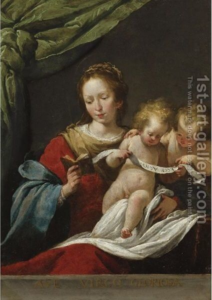 The Madonna Reading, With The Christ Child And Infant Saint John The Baptist by Bernardo Strozzi - Reproduction Oil Painting