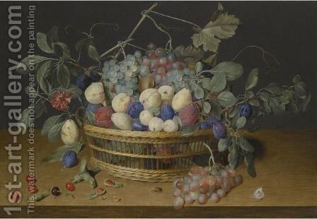 Still Life With Plums, Grapes And Peaches In A Wicker Basket, With Cherries, Hazelnuts by Jacob van Hulsdonck - Reproduction Oil Painting