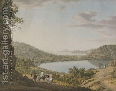 View Of Lake Averno by Giovanni Battista Lusieri - Reproduction Oil Painting