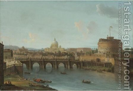 Rome, A View Of The Tiber With The Ponte And Castel Sant'Angelo, St. Peter's Basilica And The Vatican Beyond by Antonio Joli - Reproduction Oil Painting