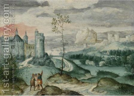 Landscape With Christ On The Road To Emmaus by Belgian Unknown Masters - Reproduction Oil Painting