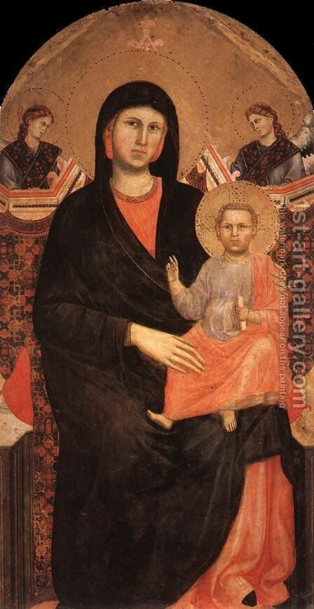 Madonna And Child With Sts Francis And Bernardine And Fra Jacopo by Benozzo di Lese di Sandro Gozzoli - Reproduction Oil Painting