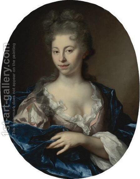 Portrait Of A Lady, Half Length, Wearing A Pink Dress With A Blue Wrap by Arnold Boonen - Reproduction Oil Painting