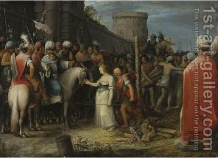 Tamar Being Led To The Stake by Adriaan van Stalbemt - Reproduction Oil Painting