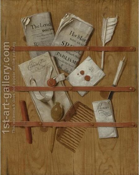 Trompe L'Oeil Still Life Of A Letter Rack Holding Newspapers, Letters, A Comb, A Knife, A Quill, Wax And A Seal by Edwart Collier - Reproduction Oil Painting