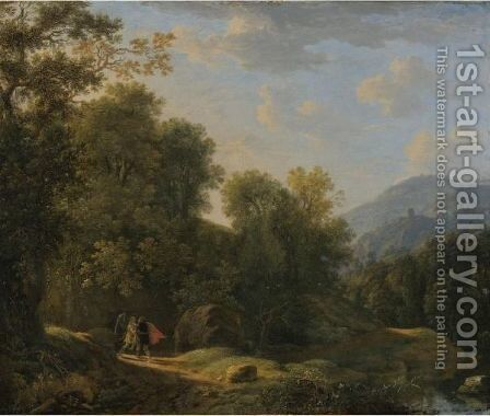 Landscape With Jacob Wrestling With The Angel by (after) Herman Van Swanevelt - Reproduction Oil Painting